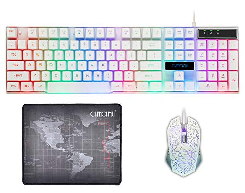 CHONCHOW Rainbow Gaming Keyboard and Mouse Combo LED Backlit USB Wired Mechanical Feeling 19 Anti-Ghost Keys 3200 DPI Optical Mice Compatible with PS4 Xbox one Laptop(White)
