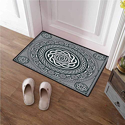 TableCovers&Home Door Mat Celtic Runner Rug Irish Circular Design with Clockwise Twisty Spiral Lines Insular Art Christmas Thanksgiving Holiday Decor Rug Royal Blue White 16x24 inches