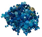 Crystal King - Mix di perle agata blu da 12 mm 8 mm 4 mm, circa 150 pezzi, perline in pietra semipreziose per gioelli fai da te