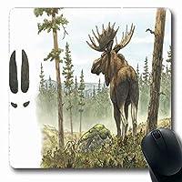 コンピューター用滑り止めマウスパッド耐久性のあるAlces水彩画大人ヨーロッパムースエルクブル自然野生動物ブラウンフォレストアラスカデザイン長方形滑り止め長方形ゲーミング滑り止めマウスパッド耐久性のある