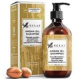 Shampoing à l'huile d'argan bio par Eclat – Shampoing à l'huile d'argan naturelle, vitamine E & acides gras oméga-5 pour des cheveux doux et forts, shampoing à l'huile d'argan et amande douce non gras