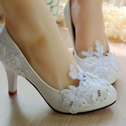 JINGXINSTORE Lady Party Pearl blanco encaje mariposa novia nupcial zapato tacón alto dama