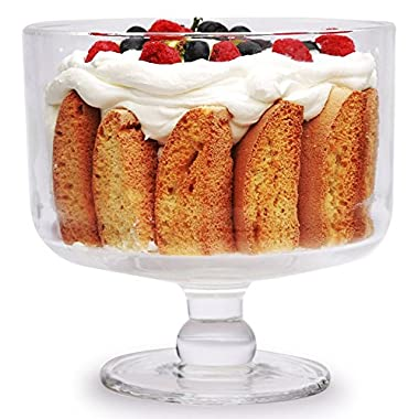 Circleware 160 oz. Odyssey Footed Glass Trifle Cake Fruit Dessert Bowl, 8.75  x 8.5 , Clear