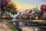 Super Power® Rompecabezas de Madera de 1000 Piezas de Thomas Kinkade Puzzle Colorida Pintura al óleo Paisaje Rompecabezas Familia Decoración de Pared Regalos de Cumpleanos