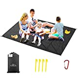 Likorlove Beach Blanket, 79'×94' Picnic Blankets Waterproof Sandproof 5-7 Adults Oversized Lightweight Portable Sand Free Quick Dry Mat for Travel Camping Hiking Compact Bag 4 Stakes+ 4 Corner Pockets