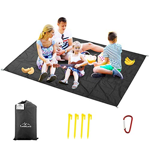 Likorlove Outdoor Picnic Waterproof Blanket 80x60 / 94x79, Compact Lightweight Foldable Sand Proof Pocket Mat for Beach/Hiking/Travel/Camping/Festival/Sporting Events with Bag Loops Stakes
