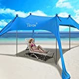 Best Beach Canopies - TIDYON 10 X10FT 4Poles Beach Canopy Family Sun Review
