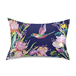 Silk Flower Arrangements ATTX Hummingbird Iris Flower Pillowcase with Envelope Closure for Hair and Skin, Soft Breathable Smooth Both Sided Cooling Silk Pillow Cover(Standard Size 20''×26'',1Pcs)