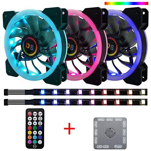 Miwatt RGB LED 120mm Lüfter, Mit dem RF-Controller können Sie die Lüftergeschwindigkeit und die Farbe der LED-Streifen regulieren,Computer Beleuchtung Dekoration (3 Lüfter Sets)