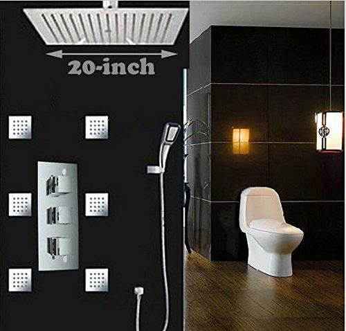 Gowe ultrafin 50,8 cm Big pluie Set robinet de douche Laiton Mitigeur thermostatique + 6 pcs Spa Corps Pulvérisateur + ABS Douchette