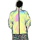 Abrigo reflectante con capucha cortavientos para correr y ciclismo, chaqueta de bolsillo para hombres y mujeres, ropa de moda (color: verde oscuro, talla: Xl)