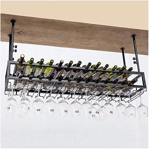 HFTD Soporte para Copas de Vino, Barra Invertida, botellero de Hierro Forjado, gabinete de Vino de Restaurante Creativo, decoración de portavasos Colgante, botellero Colgante, botellero de Vino (