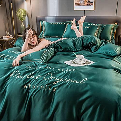 juego de funda nórdica 260x240,Conjuntos de tapa de seda de seda satinada - Soft Luxury Silky 4 pieza Cubierta de CUBIERTA CUBIERTA - TEMPORADA, JUEGO DE Ropa de cama vibrante brillante-B_1,8 m de ca