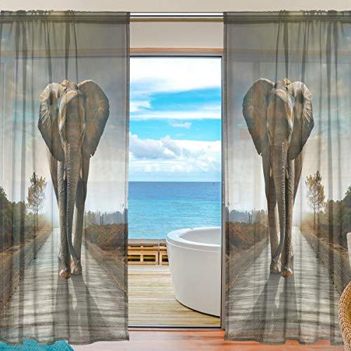 Vinlin Gardine für Fenster, transparenter afrikanischer Elefant, für Schlafzimmer, Wohnzimmer mit 2 Paneelen, 139,7 x 198 cm, multi, 55x78x2(in)