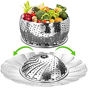 Vegetable Steamer Basket for Cooking Large  6.5  to 11   Stainless Steel Steamer Basket Folding Expandable Steamers to Fit Various Size Pot