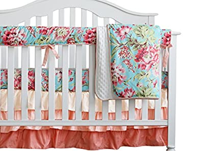 Sahaler Baby Crib Bedding Set for Girls Boy | 4 Pieces Set of Floral Nursery Bedding | Baby Blanket & Fitted Crib Sheets & Skirt & Rail Cover - Aqua
