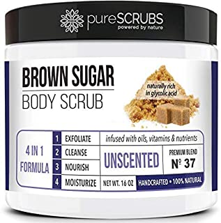 Premium BROWN SUGAR Body Scrub Exfoliating Set - Large 16oz UNSCENTED SCRUB For Face & Body, Infused Organic Essential Oils & Nutrients + FREE Wooden Stirring Spoon, Loofah & Mini Exfoliating Bar Soap