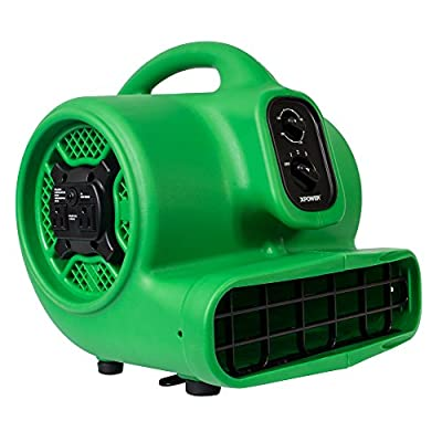 XPOWER P-430AT Medium Sized Air Mover, Carpet Dryer, Floor Blower, and Utility Fan- Features a Timer & Built-in Power Outlets – Green