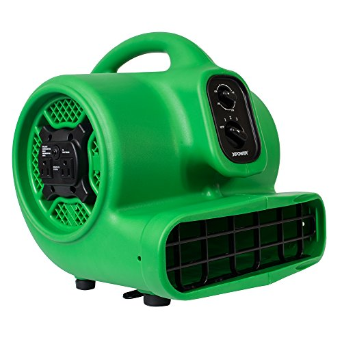 XPOWER P-430AT Medium Sized Air Mover, Carpet Dryer, Floor Blower, and Utility Fan- Features a Timer & Built-in Power Outlets – Green (1)