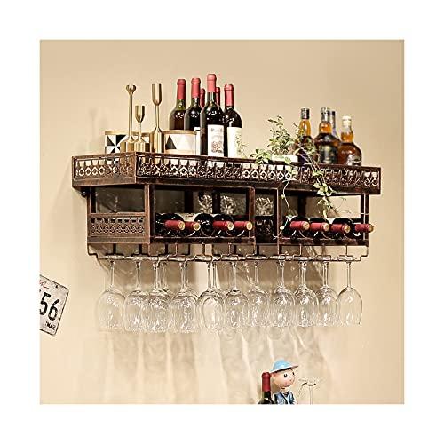 LWZ Estante Industrial para Colgar Vasos de Vino, estantes flotantes de Copa de Vino rústica, Soporte de exhibición de Botella de Vino montado en la Pared, Bronce