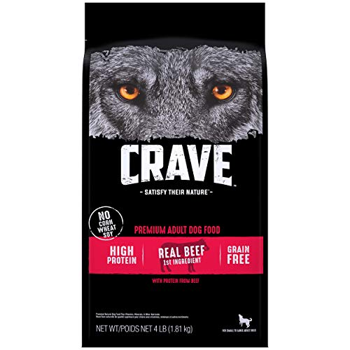 CRAVE Grain Free Adult High Protein Natural Dry Dog Food with Protein from Beef, 4 lb. Bag