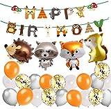 MAKFORT Kindergeburtstag Deko Happy Birthday Girlande und lustig Tier Folienballons Konfetti Luftballons Grün für Kindergarten Dekoration Urwald Party Geburtstag Mädchen Junge (lgel)