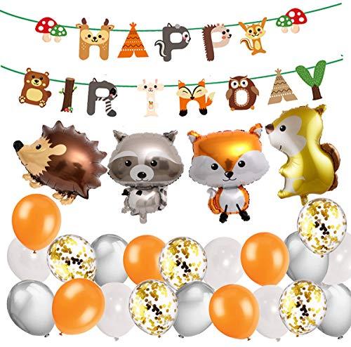 MAKFORT Animaux Anniversaire Décoration Enfant Woodland Joyeux Anniversaire Bannière Ballon en Latex avec Feuille Animal Ballon pour Garçon Fille
