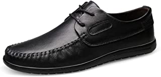 Hilotu Men's Lace Up Loafers Business Leather Breathable Oxfords Low Top Solid Color Round Toe Flat Driving Shoes (Color : Black, Size : 9 M US)