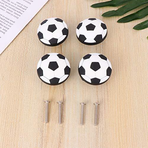 Garneck Möbelknöpfe Gummi Fußball geformte Runde Schubladenknöpfe Schrank Griffe Knöpfe Möbelgriff mit Nagel für Kinderzimmer 4St.