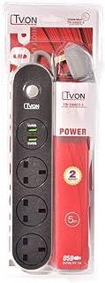 TVON POWER SOCKET 5M W/2USB TN-U6603-5