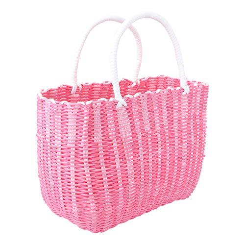 Cabilock Warenkorb Gewebter Strohkorb Afrikanischer Korb Stroh Strandtasche Wiederverwendbare Einkaufstasche Einkaufstasche Einkaufstasche mit Großer Kapazität Reisetasche