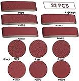 Belt Sander 22PCS Sanding Belts - 10 Pieces 4 x 36 Inch Sanding Belt Paper(80/120/150/240/400 Grits) 12 Pieces 6 Inch Self Stick No-Hole Aluminum Oxide Sanding Disc (80/100/120/180/240/400 Grits)
