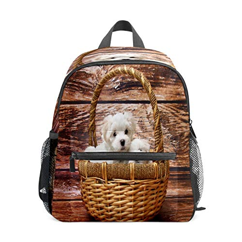 Mochila infantil para niños de 1 a 6 años de edad, mochila perfecta para niños pequeños a jardín de infancia, dos perros pequeños, cesta de madera color blanco y marrón