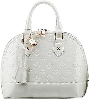 Yan Show Damen Art und Weise Schulter Beutel Drucken Beutel Lackleder Handtaschen Shell Paket/Weißer Reis
