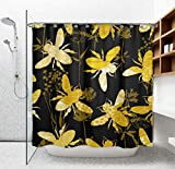 EnvyPet Funny Shower Curtain with Rust Proof Plastic Hooks, 70 X 72 Inches Standard Size Flying Honey Bees Golden Black Bath Curtains, Water-Repellent und Machine Washable for Spa/Hotel/Home Decor