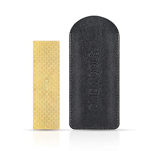 DMD Doppelseitiger Messerschärfer in Mini-Größe, Taschen-Schleifstein, Diamant-Keramik-Schärfer, Jagd-Messerschärfer, Outdoor-Schärfer, Lederscheide,...