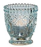 Veras Homeshop Buntes Windlicht mit Ornament, Vintage Stile Aqua (hellblau)
