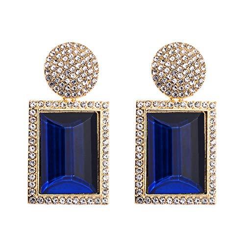 JINGGEGE Pendientes Azules de Resina Redonda para Mujeres Color de mar Color de Lujo Rhinestone de Lujo Pendientes de Gota de Madera geométrica Joyería Cuadrada (Metal Color : 4)