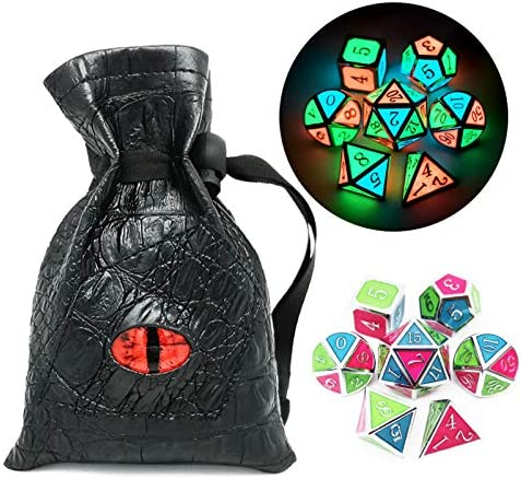 Haxtec Glow in The Dark Glowing Blue Red Green Silver Metal Dice Set D D 7PCS DND Dice Set for product image
