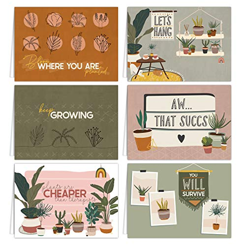 """Plant Pun Notecard Assortment / 4 7/8"""" x 3 1/2"""" Blank Cards With White Envelopes / 6 Unique Plant Lady Inspired Designs"""