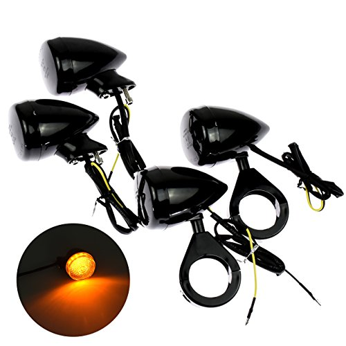 Motorcycle 39MM Fit Fork Clamp Front Rear LED Turn Signal Light Indicator Lamp Fit for Harley Sportster Dyna Bobber All Black 4Pcs