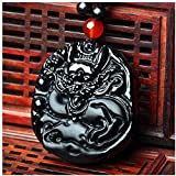 Skulptur,Feng Shui Sicherheitsdekoration Obsidian Dragon Chinese Lucky Hanging for Gifts Halskette Handmade Automotive Interiors Feng Shui Anhänger Rückspiegel Zubehör-Black Mother S Day