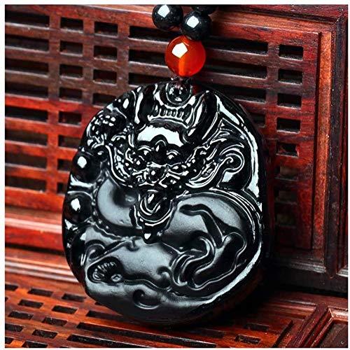 Skulptur,Feng Shui Sicherheitsdekoration Obsidian Dragon Chinese Lucky Hanging for Gifts Halskette Handmade...