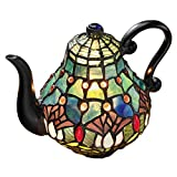 Design Toscano Victorian Teapot Tiffany-Style Stained Glass Illuminated Sculpture, 9.5', Full Color