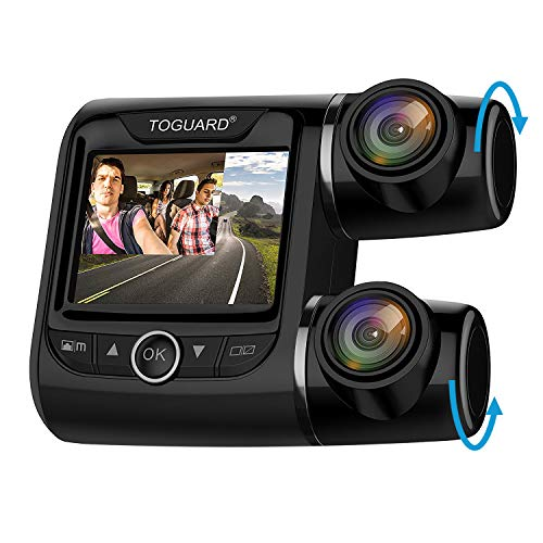 """TOGUARD Uber Dual Dash Cam FHD 1080P+1080P Front and Rear View Car Camera 2"""" LCD 340° Outside and Inside Dual Dashboard Camera with Sony Sensor, Loop Recording, Parking Mode for Lyft Car Taxi, Black"""