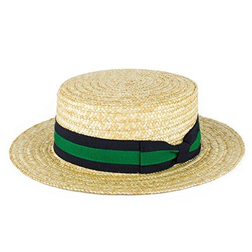 ZAKIRA Straw Boater Hat Handmade in Italy (Navy-Green-Navy Band, L)