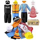 Jeowoqao Boy's Dress Up Costumes Set, Role Play Set 11-pcs Dress Up Trunk Pirate, Chef, Construction Worker, Policeman Costume Fit Kids Age from 3-6