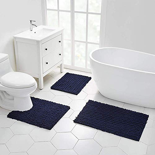 Walensee Bathroom Rug Non Slip Bath Mat Water Absorbent Super Soft Shaggy Chenille Machine Washable Dry Extra Thick Perfect Absorbant Best Small Plush Carpet for Shower Floor
