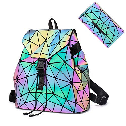 Geometric Luminous Backpack Holographic Purses and Handbags for Women Reflective Bags Wallet Clutch Set NO.2P