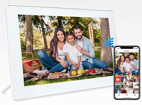 JHZL 10,1 Zoll 1280 x 800 16 GB WiFi Cloud Digitaler Bilderrahmen IPS-Touchscreen Bewegungssensor automatisch drehen Fotos/Videos über iPhone und Android Frameo App teilen(White)